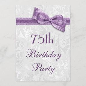 75th Birthday Party Damask and Faux Bow Invitation