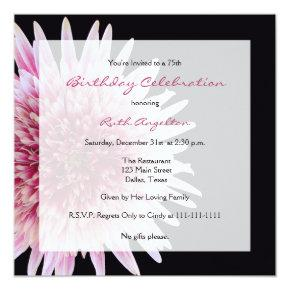 75th Birthday Party Invitations Gerbera Daisy