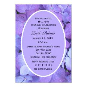 75th Birthday Party Invitations Hydrangea
