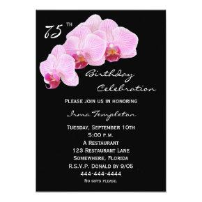 75th Birthday Party Invitations Orchids