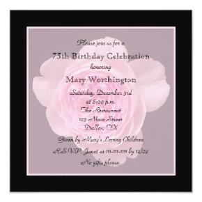 75th Birthday Party Invitation Rose for 75th