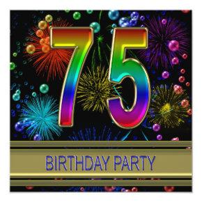 75th Birthday party Invitations with bubbles