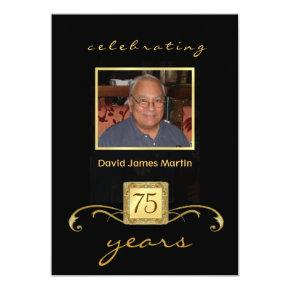75th Birthday Party Invitations - Mens Formal