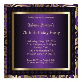 75th Birthday Party Purple and Gold Invitation