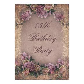 75th Birthday Romantic Vintage Roses and Lace Invitation
