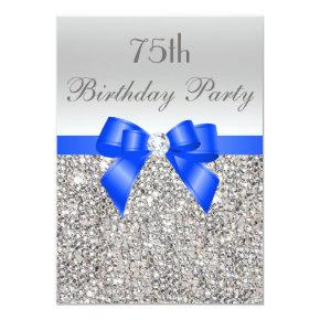 75th Birthday Silver Sequin Royal Blue Bow Diamond Invitations