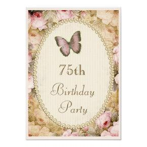 75th Birthday Vintage Roses Butterfly, Music Notes Card
