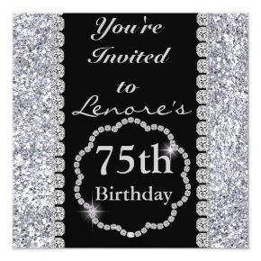 75th BLING Birthday Party Invitations