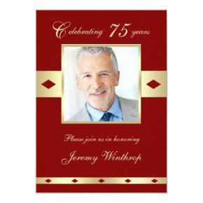 75th Photo Birthday Party Invitations Burgundy 75
