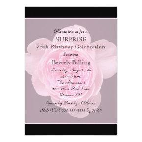 75th Surprise Birthday Party Invitations Rose