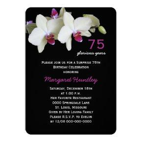 75th Surprise Birthday Party Pretty Orchid Flower Card