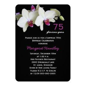 75th Surprise Birthday Party Pretty Orchid Flower Invitation