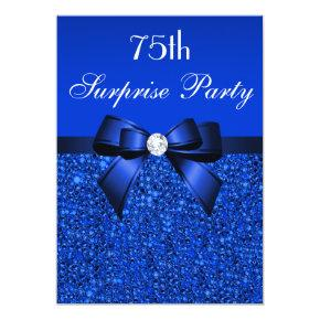 75th Surprise Party Royal Blue Sequins and Bow Invitations