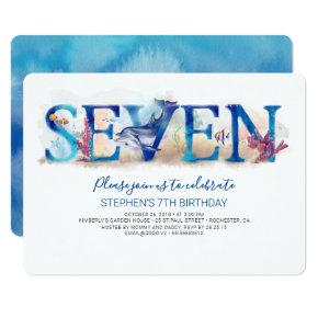 7 Birthday Invitation Deep Blue Under the Sea Life