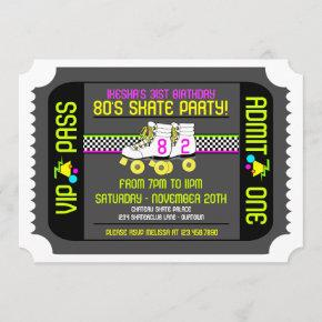 80s Rollerskate Ticket Style Party