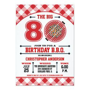80th Birthday Barbecue Invitations
