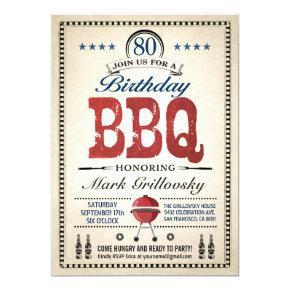 80th Birthday BBQ Invitations