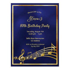 80th birthday blue gold music notes invitation