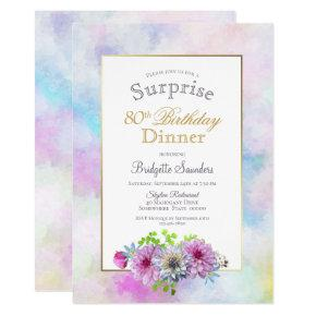 80th Birthday Blue Pink Floral Surprise Dinner Invitation