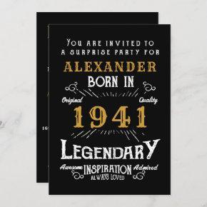 80th Birthday Born 1941 Black Gold Retro Vintage Invitation