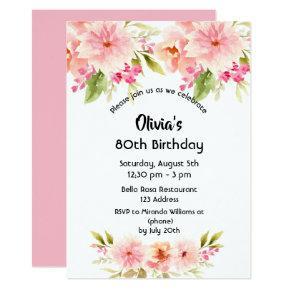 80th Birthday Coral Dahlia Flowers Pastel Pink Invitation
