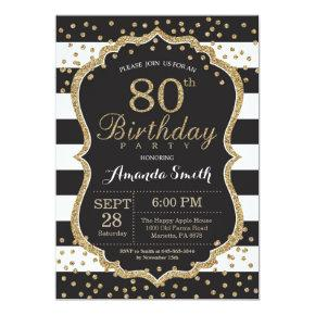 80th Birthday Invitation. Black and Gold Glitter Invitation