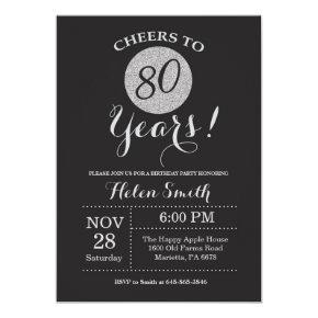 80th Birthday Invitation Black and Silver Glitter