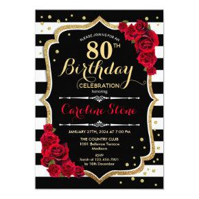 80th Birthday Invitation Black White Stripes Roses