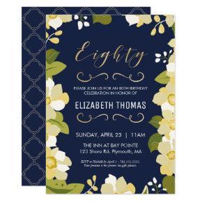 80th Birthday Invitations, Customize Floral w/ Gold Invitations