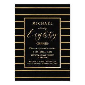 80th Birthday Invitations - Gold, Elegant Masculine
