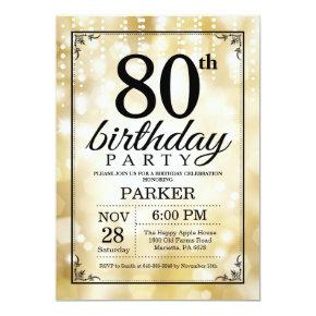 80th Birthday Invitations Gold Glitter