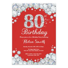 80th Birthday Invitations Red and Silver Diamond