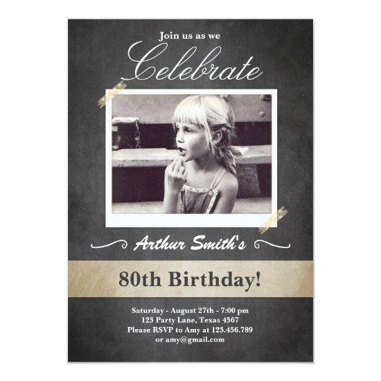 80th Birthday Invitations Vintage Eighty