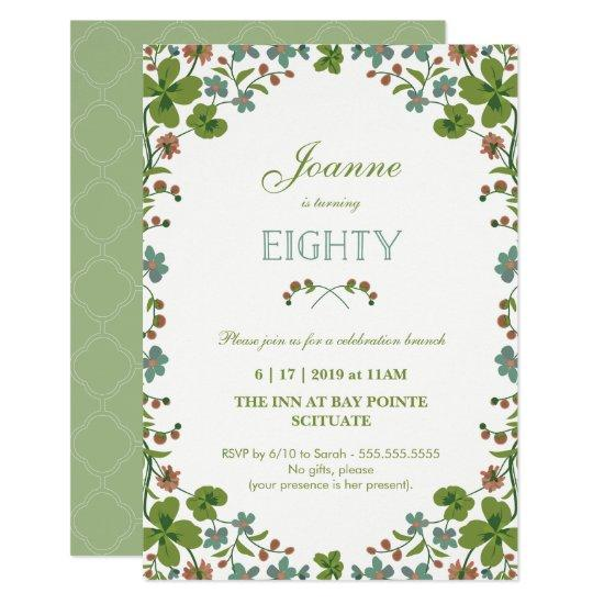 80th Birthday Invitation Vintage Floral Eightieth Invitations