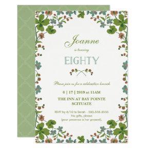 80th Birthday Invitation, Vintage Floral Eightieth Invitation