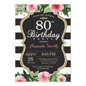 80th Birthday Invitation Women. Floral Gold Black