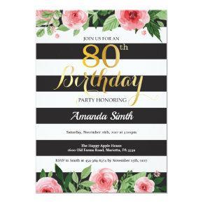 80th Birthday Invitations Women Floral Gold Black