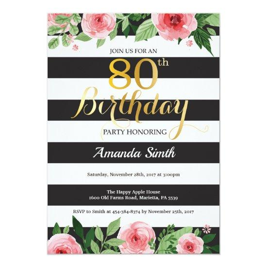 80th Birthday Invitations Women Floral Gold Black