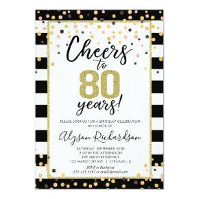 80th birthday , black and gold cheers invitation