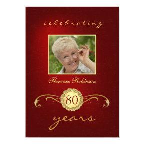 80th Birthday  - Red & Gold Monogram