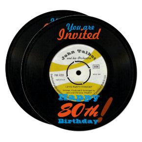 80th Birthday Invite Retro Vinyl Record 45 RPM