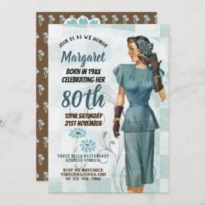 80th Birthday Invites Vintage Retro Art Deco 3