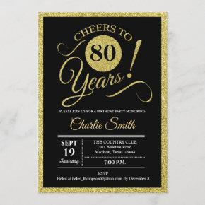 80th Birthday Party - Black Gold ANY AGE Invitation