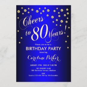 80th Birthday Party - Gold Royal Blue Invitation