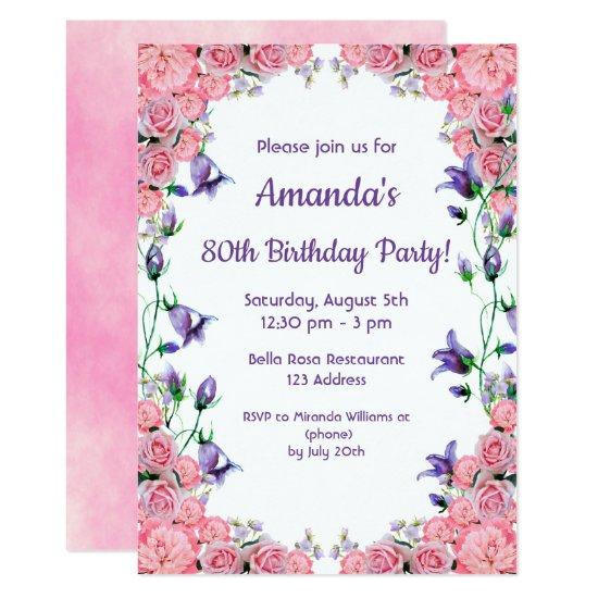 80th birthday party invitation invitations pink violet candied clouds