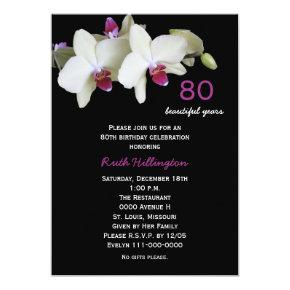 80th Birthday Party Invitations Orchids