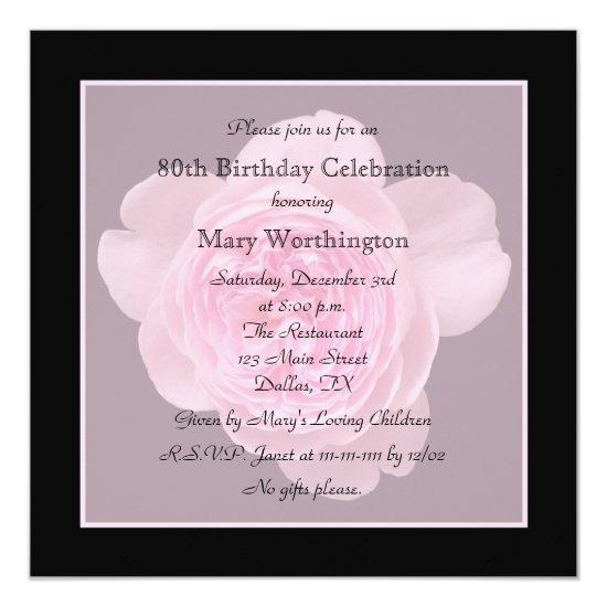 80th Birthday Party Invitations Rose For