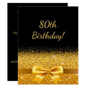 80th birthday party on black with gold bow sparkle Invitations