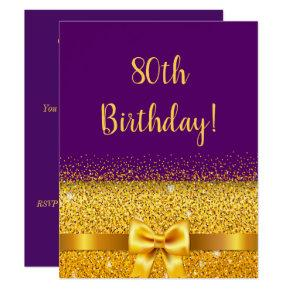 80th birthday party on purple gold bow sparkle invitation