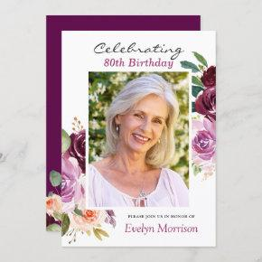 80th Birthday Party Plum Purple Blush Floral Photo Invitation